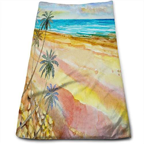 YudoHong Belleza Colorida Ola de Playa Verano Acuarela Mar Azul Toalla de Mano Toalla de Cara Ideal para Uso Diario