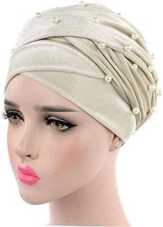 Luxury Beaded Pearled Velvet Long Head Wrap African Spa Turban Hijab Long Tube Head Scarf Tie For Women Girl (Beige)
