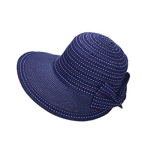 Miuno Miuno® Damen Sonnenhut Elegant Partyhut Faltbare Kappen Sonnen Schutzen (H51306-5(Blau))