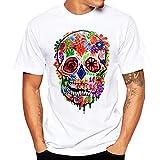 VPASS Camiseta para Hombre, Verano Manga Corta Impresión Moda Diario Slim Fit Casual T-Shirt Blusas Camisas Camiseta Jaspeada de Cuello Redondo Suave básica Camiseta Diseño de Personalidad