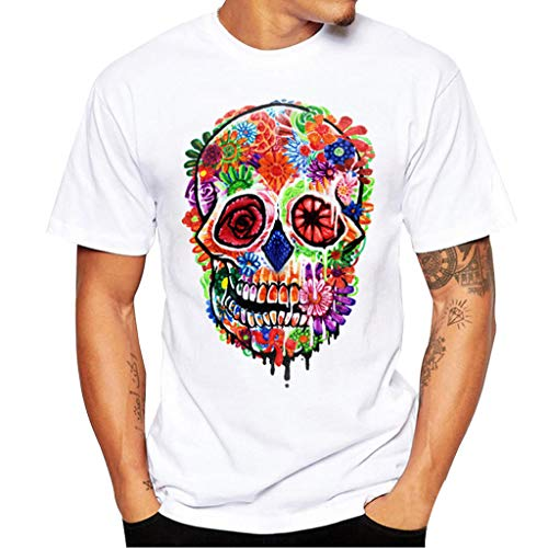 Cebbay Homme D'été Casual Funny Motifs Impression T-Shirts Chemise O-Neck À Manches Courtes T-Shirt,Hommes Impression T-Shirts Chemise à Manches Courtes été Blouse Tops(Blanc 5,M)