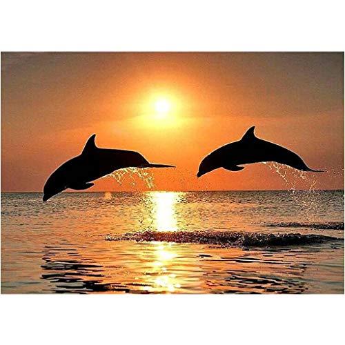 Xiuinserty Delphin Sonnenuntergang DIY 5D Vollbohrer Diamant Malerei Stickerei Kreuzstich Decor