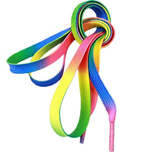 Demarkt Regenbogen Schnürsenkel Rainbow Farbe Schnürsenkel Farbe Flache Schnürsenkel Bunte Schuhe Schnur 3 Paar