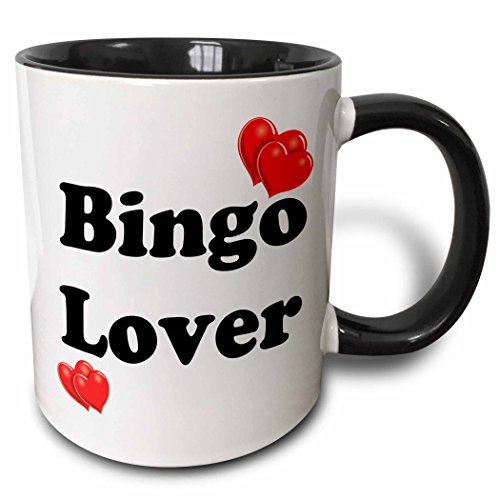 3dRose Bingo Lover Two Tone Mug, 11 oz, Black/White