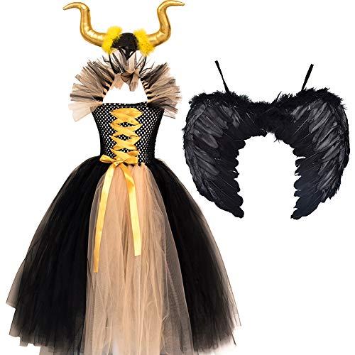 Disfraz de princesa malfica para nias y nias, vestido de tul hecho a mano, con cuerno y alas, bruja malvada, Halloween, carnaval, cosplay