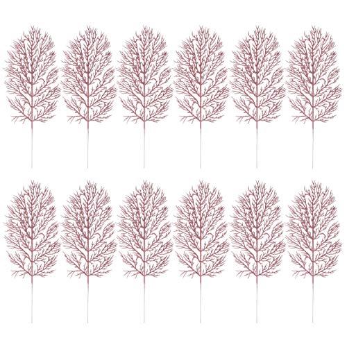 Cabilock 24 peças enfeite de folhas de árvore de Natal com glitter e folhas em spray floral para decoração de vaso de decoração de árvore de Natal, guirlanda de árvore de Natal, artesanato faça você m