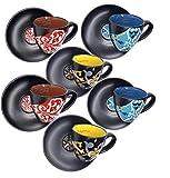 Subbizzu® Eccellenze 6 Tazzine Caffe Particolari da Caltagirone Sicilia Ceramica Colorate...