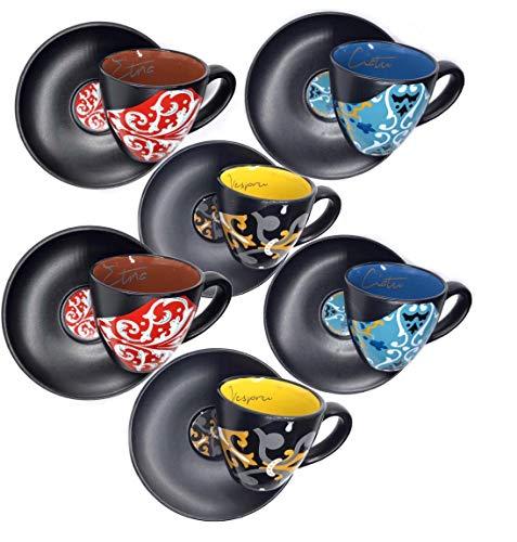 Subbizzu Eccellenze 6 Tazzine Caffe Particolari da Caltagirone Sicilia Ceramica Colorate Servizio con 6 Piattini Design Siciliano Espresso Regalo Vintage Coffee Cup Moka