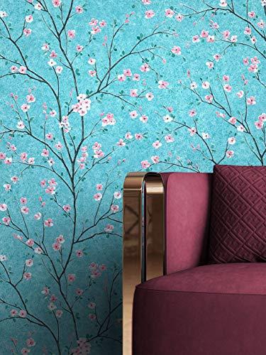 NEWROOM Tapete Blau Vliestapete Blumen - Blumentapete Floral Rosa Kirschblüte Bäume Blätter Tropisch inkl. Tapezier-Ratgeber