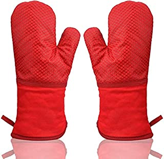 Manoplas Horno Antideslizante Guantes de Cocina Silicona Dobles,Guantes de Horno Profesional Resistentes al Calor Largo y Grueso Algodón Suave Oven Gloves para Cocina Horneando Barbacoa 1 Par (Rojo)