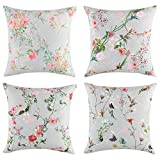 EXQ Home Throw Pillow Covers 20x20 Set of 4,Decorative Pillows Covers for Couch, Sofa,Microfiber Print Summer Farmhouse Pillow Cases with Hidden Zipper (Fold Over Flower) 20'x 20'