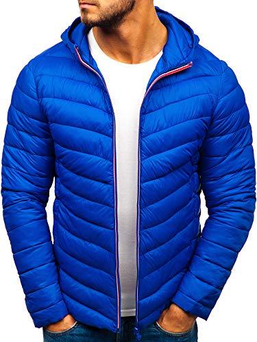 BOLF Herren Übergangsjacke Steppjacke Daunenjacke Sportjacke Freizeitjacke Kapuze Reißverschluss Street Style J.Style LY1016 Blau XXL [4D4]