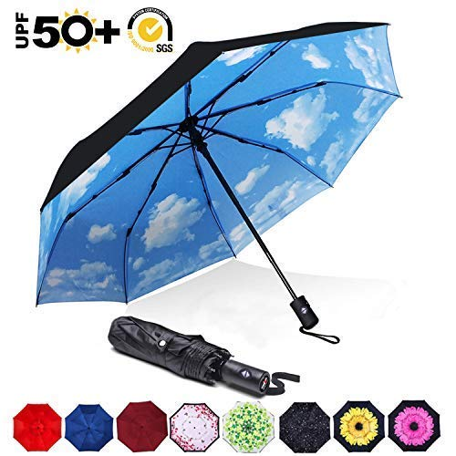ABCCANOPY Umbrella Compact Rain&Wind Teflon Repellent Umbrellas Sun Protection with Black Glue Anti UV Coating Travel Auto Folding Umbrella, Blocking UV 99.98%,Sky/black