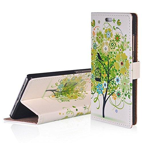 WindCase Klappetui Brieftasche PU Leder Schutzhülle für Alcatel OneTouch Pop Up OT6044 Hülle Green Tree Muster PU Ledertasche Case mit Standfunktion Kartenfächer