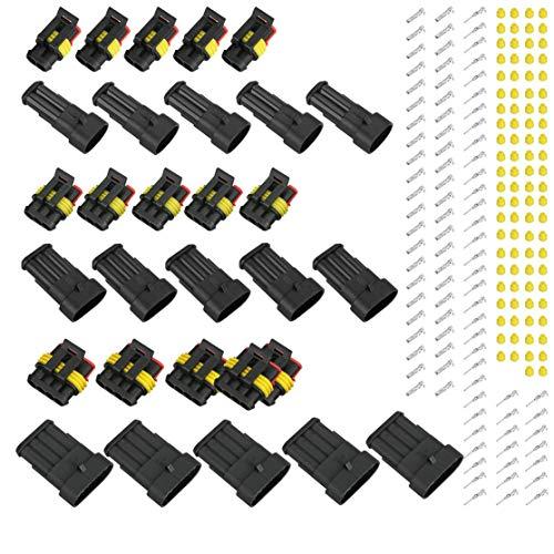 zhouweiwei 15 STK. 2/3/4 Pins Way Auto Auto Sealed Waterproof Electrical Wire Connector Plug Wasserdichter Stecker