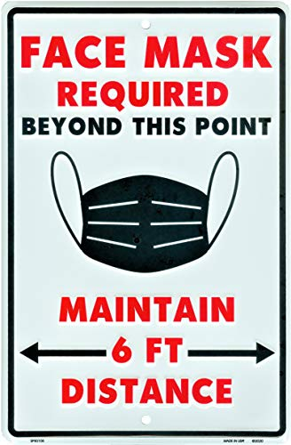 HangTime Face Mask Required Beyond This Point Sign, Social Distancing Business and Industrial Application, 8 x 12 Inch Rust Free Stamped Aluminum Signage