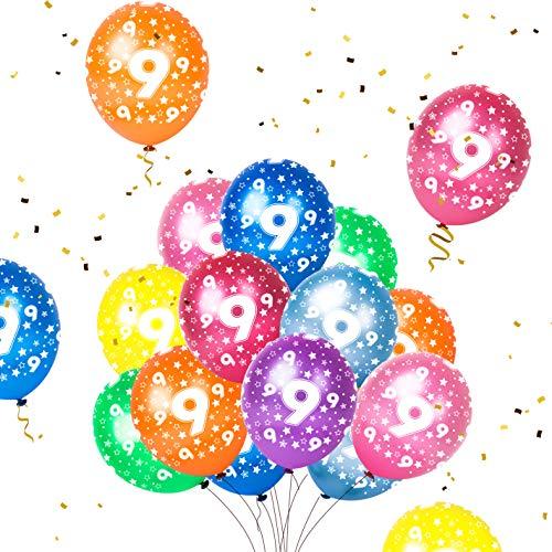 Humairc 16 Luftballon 9. Geburtstag bunte Luftballon mit Zahlen 9 für Kindergeburtstag Deko Jungen Mädchen unterstürtzt Luft Helium
