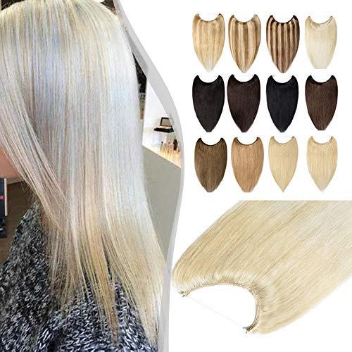 Elailite Extension Capelli Veri Filo Invisibile 100% Remy Human Hair Fascia Unica senza Clip Standard Weft 40cm #60 Biondo Platino 60g
