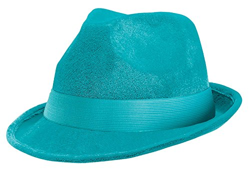 Amscan 255519.72 Turquoise Velour Adult Fedora, 1ct