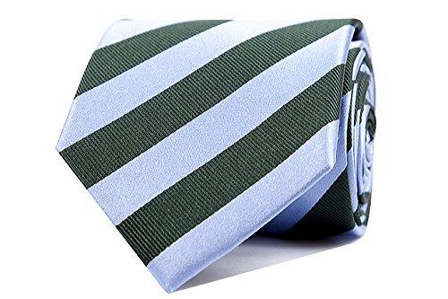 Sologemelos - Cravate Rayures - Bleu-vert 100% soie naturelle - Hommes - Taille Unique - Confection artesanale Made In Italy