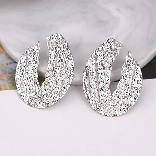 XCWXM Pendientes Grandes ovalados de Mujer, Pendientes de Metal Dorado en Forma de espirales geométricas, Plata EK3231