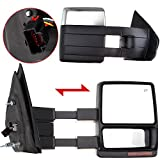 LUJUNTEC Tow Mirrors Replacement fit for 2004-2015 For Ford F-150 Pickup Truck Pickup Towing Mirrors Driver Left and Passenger Right Side Power Adjusted Heated Turn Signal Light Chrome Housing