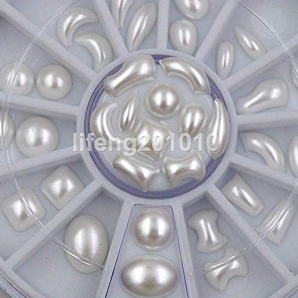 マイクロいたずらボックスFidgetGear ミックスデザインホワイト3dグリッターネイルアートデコレーションラインストーンパールホットホイールP
