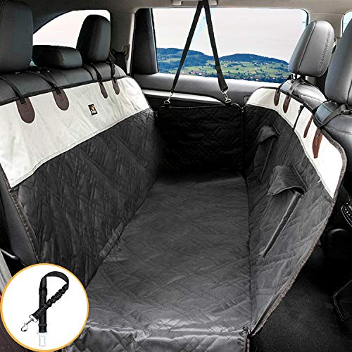 Toozey Dog Car Seat Cover with Side Protection for Car/Van/SUV/Wagon, Divisible Waterproof Dog Car Hammock Protector with Dog Belt, Scratch-resistant & Non-slip, 2 Pockets, 146x135 cm