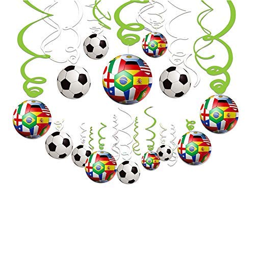 2019 AFC Asian Cup Party Swirl Decorations - 30 CT Hanging Swirl for Soccer Party Supplies Theme Birthday Party Decorations