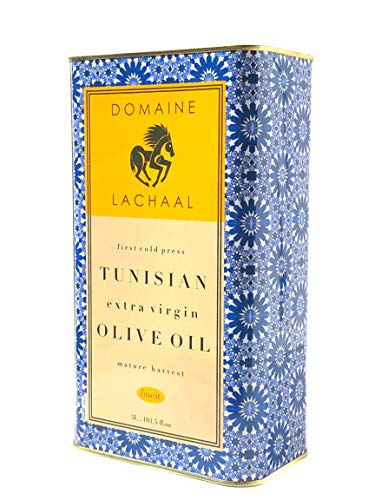 Fresh 2021 Season, Domaine Lachaal, 100% Extra Virgin Olive Oil, 'Mature Harvest' First Cold Press, Family Estate Grown Select Hand Harvested Chemlali Olives, Tunisia, 101.5 Fl Oz - 3 Liters