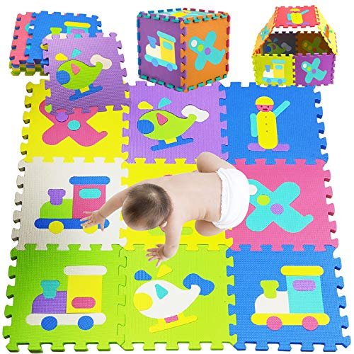 Toddlers Play Mat,Play Mat for Kid- Kid's Puzzle Exercise Play Mat, Foam Playmats Various Vehicle for Kids and Toddlers Boys Girls (18P MAT)