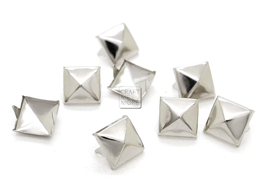 CRAFTMEmore 100pcs Silver Tone Pyramid Studs Spot Nailheads 2 Prongs Square DIY Spike for Shoes Cloth Punk Accessories (10 MM)