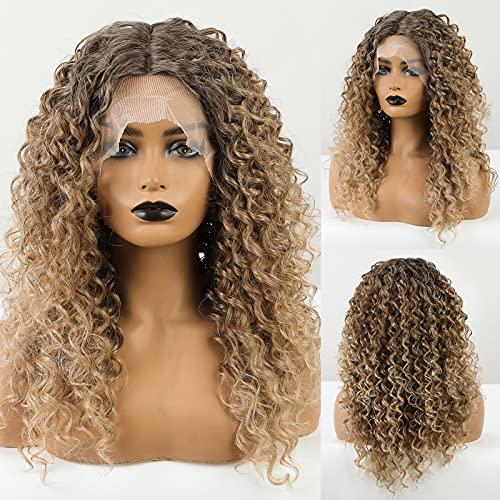 HAIRCUBE Braune Spitzenfrontgewinde Afro Curly für Frauen Synthetische Perücken 130% Dichte Perücken Hitzebeständige tägliche Verwendung