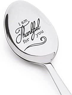 I am Thankful for You Hand Stamped Teaspoon Personalized Gift Inspirational Saying Thanksgiving spoon Custom Stamping Personalized Spoon Christian Gift Thankful Thank You Gift Thanksgiving Gratitude.