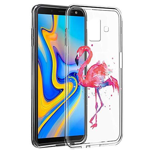 Eouine Capa para Samsung Galaxy J6 Plus, capa de celular transparente com padrão ultrafino, à prova de choque, gel macio, TPU de silicone, capa traseira para Samsung Galaxy J6 Plus (avestruz)