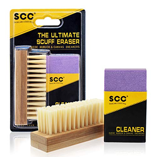 Premium Shoe Cleaner Kit Brush and Solution. Nubuck Cleaner Brush and Seude Eraser Set. Designed to clean suede & nubuck. Safe for all colors, erases spots and soil. Bristle Brushes Kit for Nap Care.