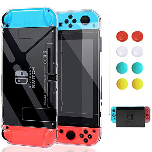 Switch Case, VEGCOO Dockable Protective Case Crystal Shockproof Ergonomic Anti-Scratch Cover for Nintendo Switch Console & Accessories with Glass Screen Protector & Thumb Grips Caps-Clear