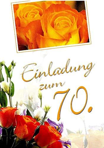 Einladungskarten 70. Geburtstag Frau Mann mit Innentext Motiv Rosen 10 Klappkarten DIN A6 im Hochformat mit weißen Umschlägen im Set Geburtstagskarten Einladung 70 Geburtstag Mann Frau K247