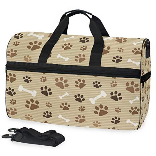Montoj - Bolsa de Viaje de Lona con Estampado de Huellas de Perro y Gato