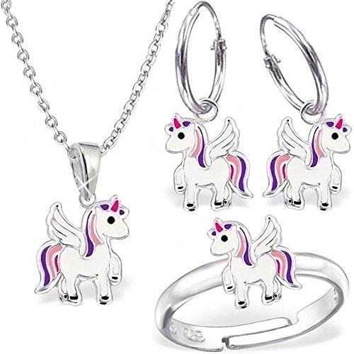 gh1a Unicornio Juego Ring + Colgante + Collar + Pendientes de aro 925plata caballo