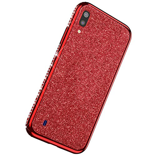 Herbests Custodia Compatibile con Samsung Galaxy M10 Cover Case Brillantini Bling Paillettes Custodia Diamante a Strass TPU Silicone Bumper Case Slim Protettiva Antiurto Cover,Rosso