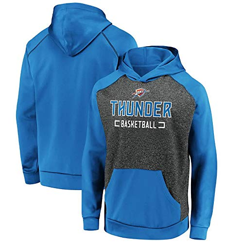 Hoodies Jersey NBA Thunder Blue Casual Jersey Hombres Baloncesto Uniforme de Manga Larga, M