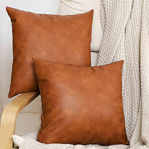 SEEKSEE 2-Pack Faux Leather Accent Throw Pillow Cover 18x18 inch, Modern Country Farmhouse Style Pillowcase for Bedroom Living Room Sofa Brown Pillows.