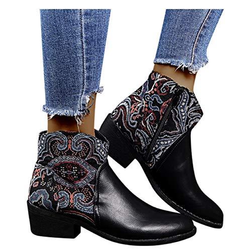 Luckycat Botines Mujer Botines Mujer Botas de Cálidas y Cómodas Zapatos de Invierno Tacones Cuadrados Cremallera Bordado Botines Cortos Zapatos de Punta Rojoonda