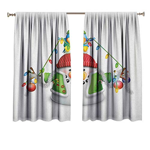 Snowman Short Curtains Cartoon Whimsical Character with Christmas Garland Blue Bird Various Xmas Elements Room Darkening Curtains for Nursery 36x72 Inch