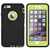 Ai-case Built-in Screen Protector Tough 4 in1 Rugged Shock Proof Cover with Kickstand for iPhone 6/6S Plus - Black/Green