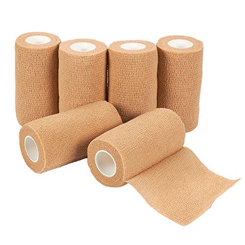Lot de 6 bandages auto-adhésifs - Rouleaux de gaze - Ruban médical - Fournitures de premiers secours pour le sport, les poignets, les chevilles - Marron clair - 10,16 x 457,2 cm