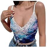 XUNN Damen Tops Mode Sexy Gurtband Spitze Nähte V-Ausschnitt Tie-Dye Print Camisole Tanktops Bluse T-Shirt Frauen Oberteil