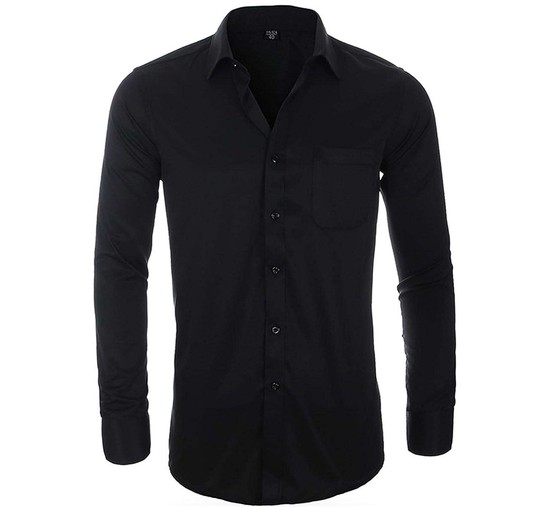 Mens Long Sleeve Slim Fit Dress Shirts Button Down Work Shirt Solid Color Dress Shirts (43,Black1)