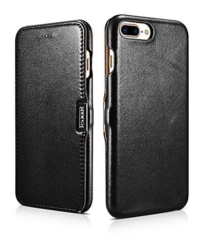 ICARER Hülle passend für Apple iPhone 8 Plus & iPhone 7 Plus (5.5 Zoll), Handyhülle mit echtem Leder, Hülle, Schutz-Hülle klappbar, dünne Handytasche, Slim Cover, Schwarz